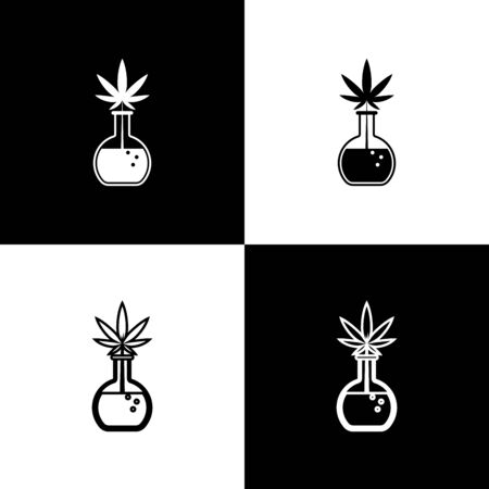 Set Chemical test tube with marijuana or cannabis leaf icon isolated on black and white background. Research concept. Laboratory CBD oil concept. Vector Illustration