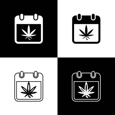 Set Calendar and marijuana or cannabis leaf icon isolated on black and white background. National weed day. Hemp symbol. Vector Illustration Иллюстрация