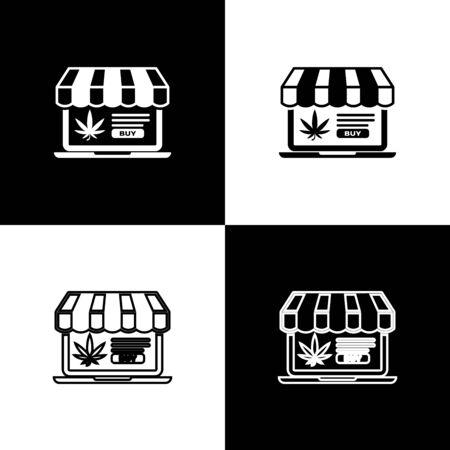 Set Laptop and medical marijuana or cannabis leaf icon isolated on black and white background. Online buying symbol. Supermarket basket. Vector Illustration