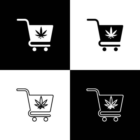 Set Shopping cart with marijuana or cannabis leaf icon isolated on black and white background. Online buying. Delivery service. Supermarket basket. Vector Illustration Иллюстрация