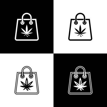 Set Shopping paper bag of medical marijuana or cannabis leaf icon isolated on black and white background. Buying cannabis. Hemp symbol. Vector Illustration Иллюстрация