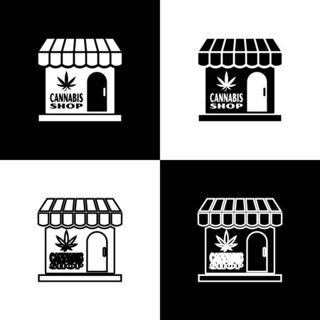 Set Marijuana and cannabis store icon isolated on black and white background. Equipment and accessories for smoking, storing medical cannabis. Vector Illustration Ilustrace