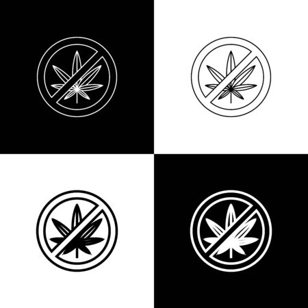 Set Stop marijuana or cannabis leaf icon isolated on black and white background. No smoking marijuana. Hemp symbol. Vector Illustration