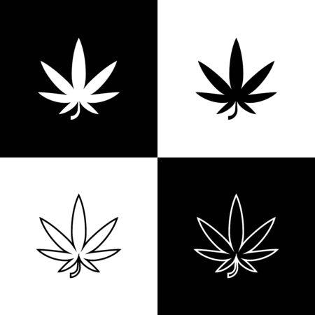 Set Medical marijuana or cannabis leaf icon isolated on black and white background. Hemp symbol. Vector Illustration Иллюстрация