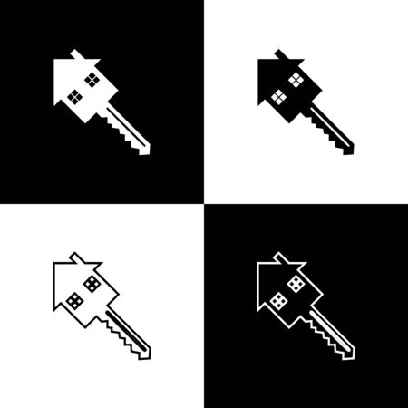 Set House with key icon isolated on black and white background. The concept of the house turnkey. Vector Illustration Illustration