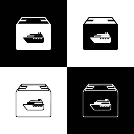 Set Cargo ship with boxes delivery service icon isolated on black and white background. Delivery, transportation. Freighter with parcels, boxes, goods. Vector Illustration Banque d'images - 133655912
