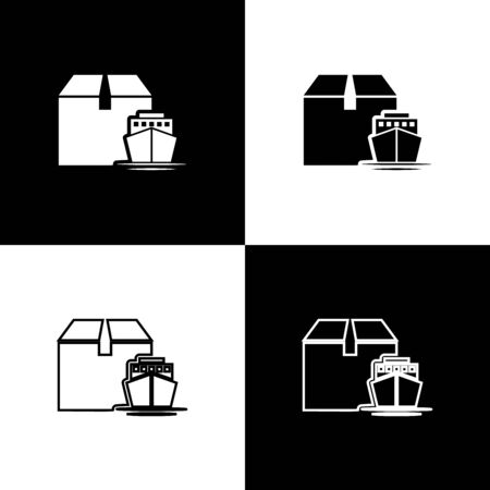 Set Cargo ship with boxes delivery service icon isolated on black and white background. Delivery, transportation. Freighter with parcels, boxes, goods. Vector Illustration Banque d'images - 133655914