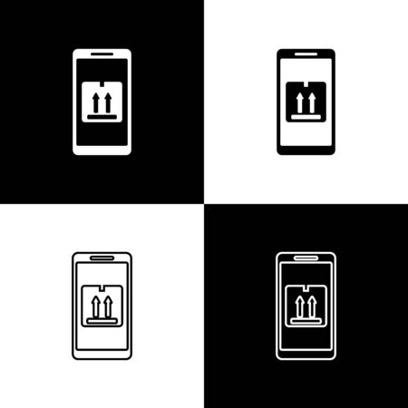 Set Mobile smart phone with app delivery tracking icon isolated on black and white background. Parcel tracking. Vector Illustration Иллюстрация