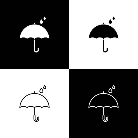 Set Umbrella and rain drops icon isolated on black and white background. Waterproof icon. Protection, safety, security concept. Water resistant symbol. Vector Illustration Stock Illustratie