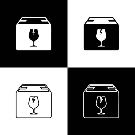 Set Delivery package box with fragile content symbol of broken glass icon isolated on black and white background. Box, package, parcel sign. Vector Illustration Standard-Bild - 133655444
