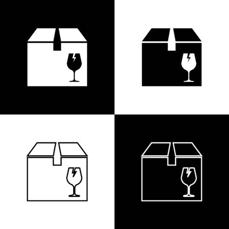 Set Delivery package box with fragile content symbol of broken glass icon isolated on black and white background. Box, package, parcel sign. Vector Illustration Standard-Bild - 133655445