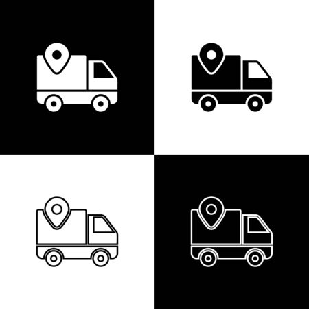 Set Delivery tracking icon isolated on black and white background. Parcel tracking. Vector Illustration