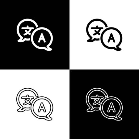 Set Translator icon isolated on black and white background. Foreign language conversation icons in chat speech bubble. Translating concept. Vector Illustration Stock fotó - 133655623