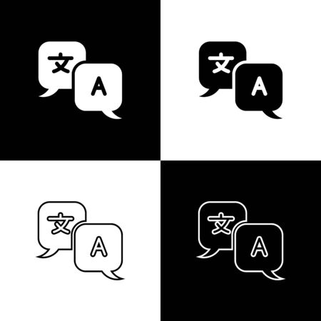 Set Translator icon isolated on black and white background. Foreign language conversation icons in chat speech bubble. Translating concept. Vector Illustration