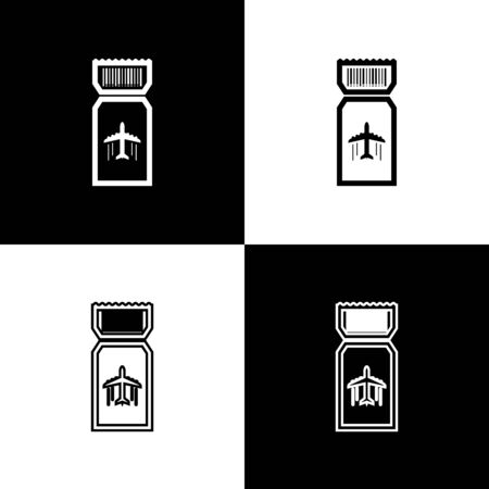 Set Airline ticket icon isolated on black and white background. Plane ticket. Vector Illustration Иллюстрация