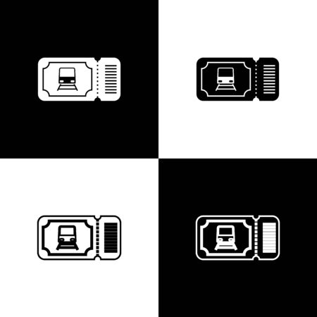 Set Train ticket icon isolated on black and white background. Travel by railway. Vector Illustration Stock Illustratie