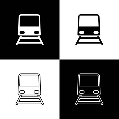 Set Train icon isolated on black and white background. Public transportation symbol. Subway train transport. Metro underground. Vector Illustration