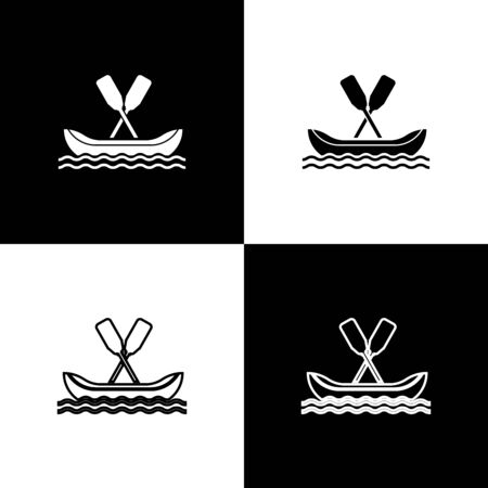 Set Rafting boat icon isolated on black and white background. Kayak with paddles. Water sports, extreme sports, holiday, vacation, team building. Vector Illustration
