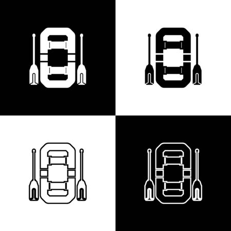 Set Rafting boat icon isolated on black and white background. Inflatable boat with oars. Water sports, extreme sports, holiday, vacation, team building. Vector Illustration