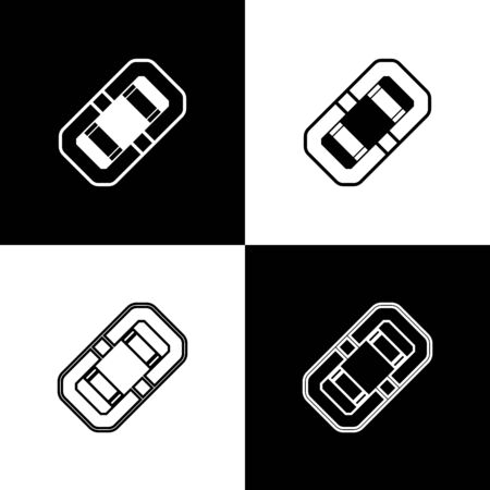Set Rafting boat icon isolated on black and white background. Inflatable boat. Water sports, extreme sports, holiday, vacation, team building. Vector Illustration Stock Illustratie