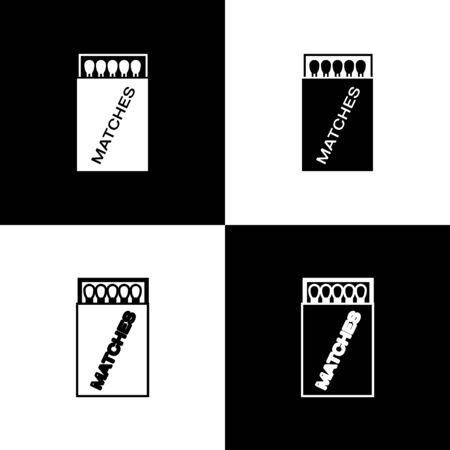 Set Open matchbox and matches icon isolated on black and white background. Vector Illustration Illusztráció