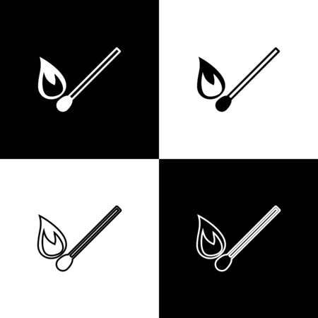 Set Burning match with fire icon isolated on black and white background. Match with fire. Matches sign. Vector Illustration