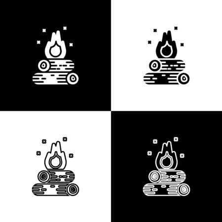 Set Campfire icon isolated on black and white background. Burning bonfire with wood. Vector Illustration