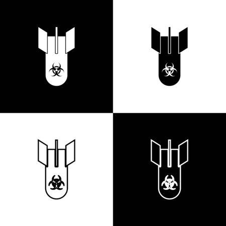 Set Biohazard bomb icon isolated on black and white background. Rocket bomb flies down. Vector Illustration Ilustrace