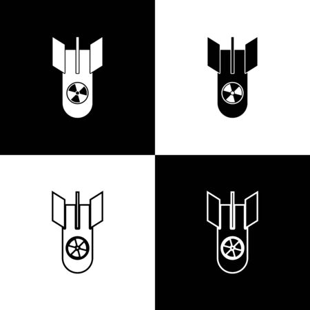 Set Nuclear bomb icon isolated on black and white background. Rocket bomb flies down. Vector Illustration