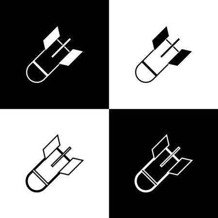 Set Aviation bomb icon isolated on black and white background. Rocket bomb flies down. Vector Illustration Ilustração