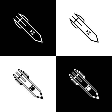 Set Biohazard rocket icon isolated on black and white background. Rocket bomb flies down. Vector Illustration Ilustrace
