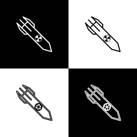 Set Nuclear rocket icon isolated on black and white background. Rocket bomb flies down. Vector Illustration