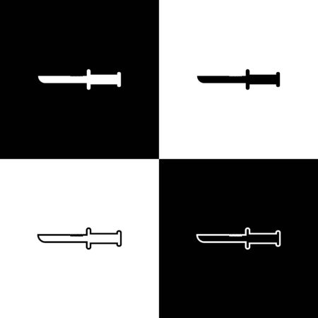Set Military knife icon isolated on black and white background. Vector Illustration