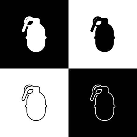 Set Hand grenade icon isolated on black and white background. Bomb explosion. Vector Illustration Ilustração