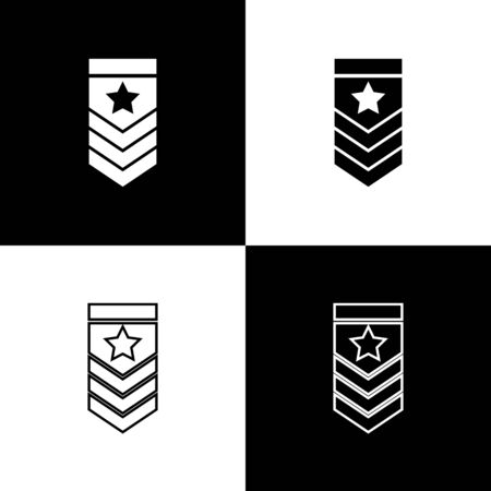 Set Chevron icon isolated on black and white background. Military badge sign. Vector Illustration