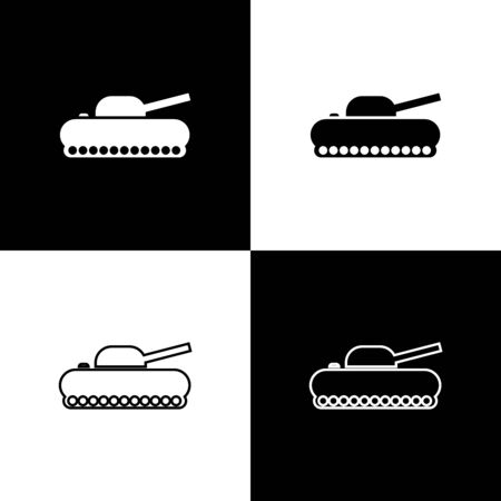 Set Military tank icon isolated on black and white background. Vector Illustration