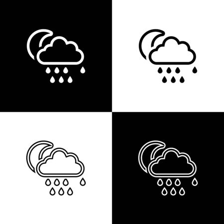 Set Cloud with rain and moon icon isolated on black and white background. Rain cloud precipitation with rain drops. Vector Illustration