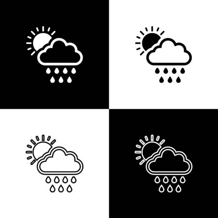 Set Cloud with rain and sun icon isolated on black and white background. Rain cloud precipitation with rain drops. Vector Illustration Stock Illustratie