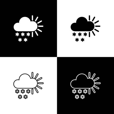 Set Cloudy with snow icon isolated on black and white background. Cloud with snowflakes. Single weather icon. Snowing sign. Vector Illustration