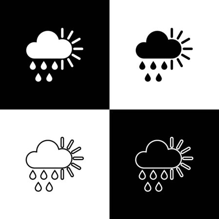 Set Cloudy with rain and sun icon isolated on black and white background. Rain cloud precipitation with rain drops. Vector Illustration