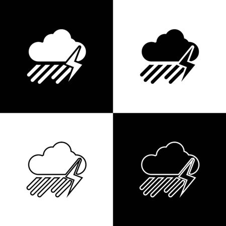 Set Cloud with rain and lightning icon isolated on black and white background. Rain cloud precipitation with rain drops.Weather icon of storm. Vector Illustration Stock Illustratie