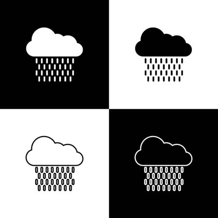 Set Cloud with rain icon isolated on black and white background. Rain cloud precipitation with rain drops. Vector Illustration Stock Illustratie
