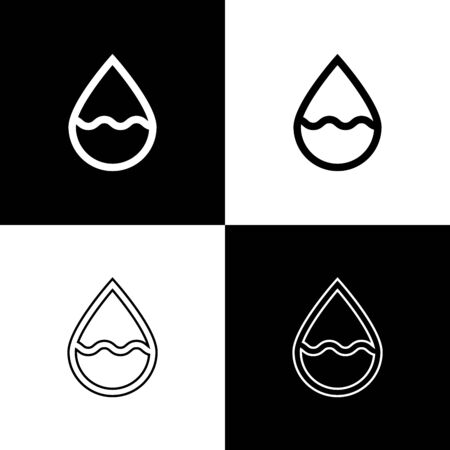 Set Water drop icon isolated on black and white background. Vector Illustration Stock Illustratie
