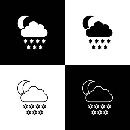Set Cloud with snow and moon icon isolated on black and white background. Cloud with snowflakes. Single weather icon. Snowing sign. Vector Illustration