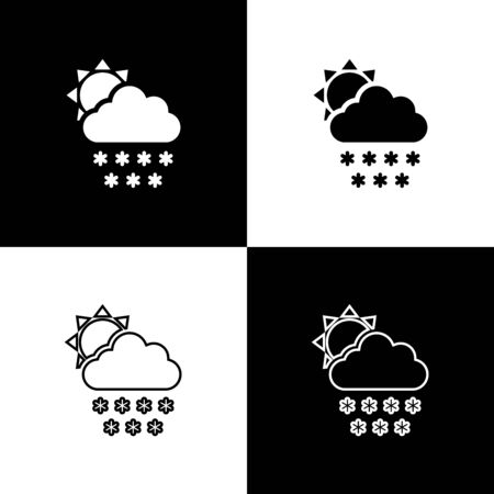 Set Cloud with snow and sun icon isolated on black and white background. Cloud with snowflakes. Single weather icon. Snowing sign. Vector Illustration