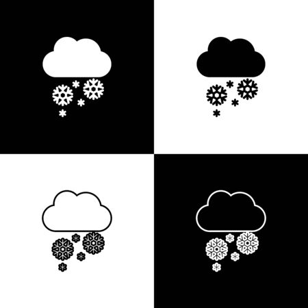Set Cloud with snow icon isolated on black and white background. Cloud with snowflakes. Single weather icon. Snowing sign. Vector Illustration Stock Illustratie