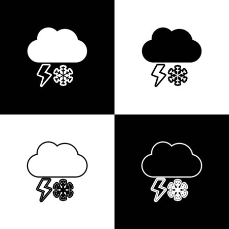 Set Cloud with snow and lightning icon isolated on black and white background. Cloud with snowflakes. Single weather icon. Snowing sign. Vector Illustration