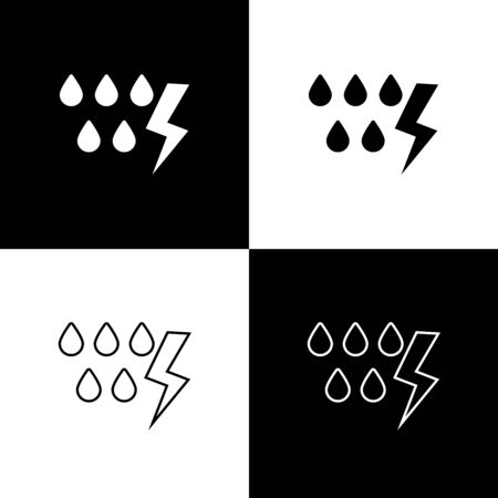 Set Storm icon isolated on black and white background. Drop and lightning sign. Weather icon of storm. Vector Illustration