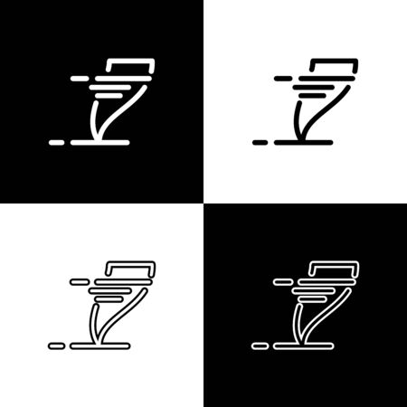 Set Tornado icon isolated on black and white background. Cyclone, whirlwind, storm funnel, hurricane wind or twister weather icon. Vector Illustration Foto de archivo - 133656774