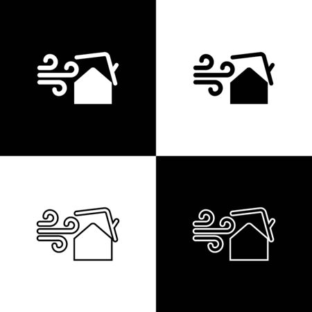 Set Tornado swirl damages house roof icon isolated on black and white background. Cyclone, whirlwind, storm funnel, hurricane wind icon. Vector Illustration Foto de archivo - 133656776